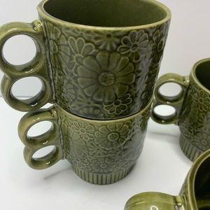 stackable ceramic mug set vintage green MCM Boho